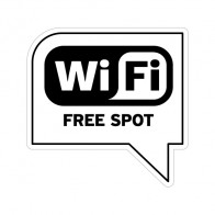 Sign Wifi Free Spot Black Print On White Vinyl 12027