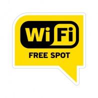 Sign Wifi Free Spot Yellow Black Print On Vinyl 12028