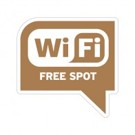 Sign Wifi Free Spot Earth Tone Print On White Vinyl For Coffee Shops 12033