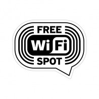 Sign Wifi Free Spot Black Print On White Vinyl 12036