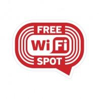 Wifi Free Spot Red Print On White Vinyl 12039
