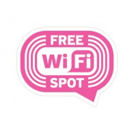 Sign Wifi Free Spot Pink Print On White Vinyl 12041