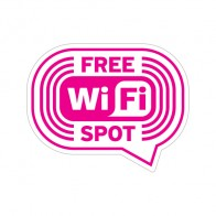 Sign Wifi Free Pink-Magenta On White Vinyl 12043
