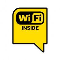 Sign Wifi Inside Yellow Black Print On Vinyl 12045