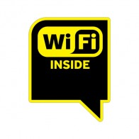 Sign Wifi Inside Yellow Black Print On Vinyl 12050
