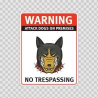 Warning Attack Dog On Premises. No Trespassing 12868
