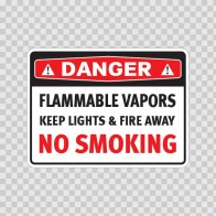 Danger Flammable Vapors Keep Lights & Fire Away No Smoking 19085