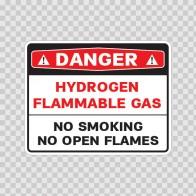 Danger Hydrogen Flammable Gas No Smoking No Open Flame 19093