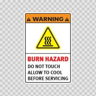 Warning Burn Hazard. Do Not Touch. Allow To Cool Before Servicing. 19408