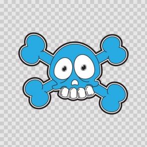 Cartoon Blue Skull 02422