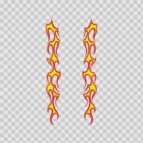 Pair Of Long Flames Pattern Red Yellow 03017