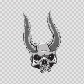 Gray Black Skull With Thorns 04885