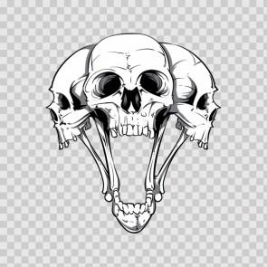 Gray Black Three Skull 04973