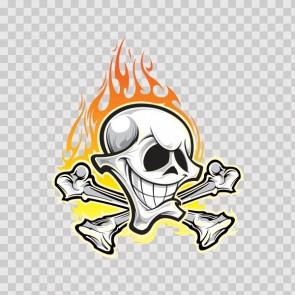 Crossbones Skull With Flames 05298