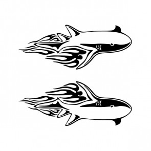 Pair Of Flamed Sharks 05414