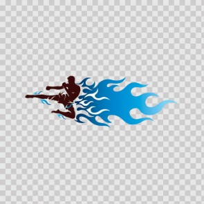 Martial Arts Kick With Blue Flames 05745
