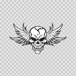 High Detailed Skull With Angel Wings 05765