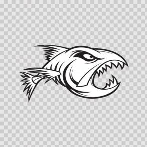 Aggressive Fish Bones Skull Skeleton 06236