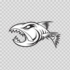 Aggressive Fish Bones Skull Skeleton 06237