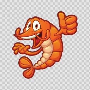 Cartoon Shrimp Holding It's Thumb Up 06241
