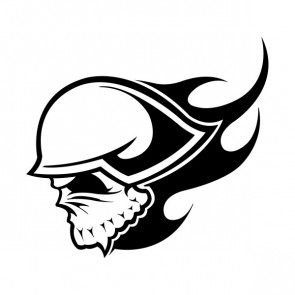 Flaming Skull With Helmet 06336