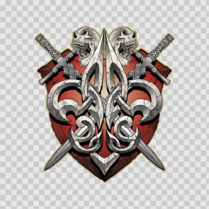 Gothic Shield With Crossed Swords 06451