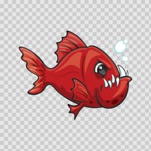 Angry Red Piranha Fish 07035