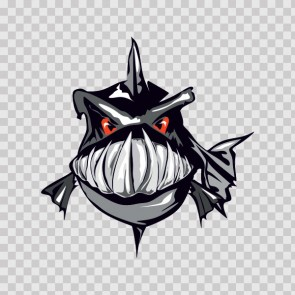 Angry Black Piranha Fish 07036