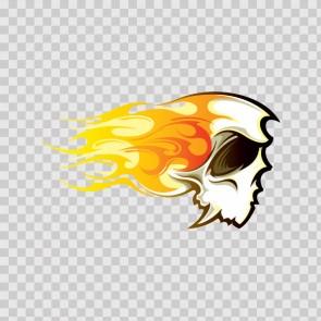 Cartoon Skull With Racing Flames 07874