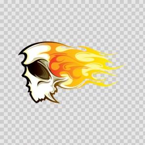 Cartoon Skull With Racing Flames 07875