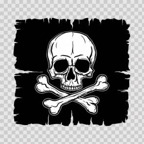 Crossbone Skull In Black Flag 08121
