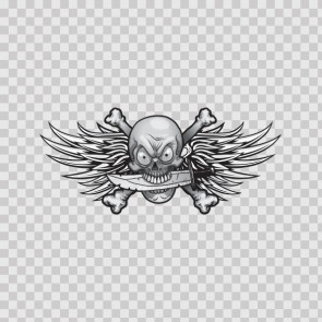 Crossbone Pirate Skull With Wings 08369