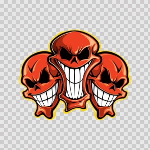 Group Of Red Smiling Skulls 08772