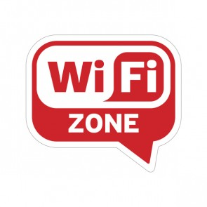 Sign Wifi Free Zone Red Print On Vinyl 12012