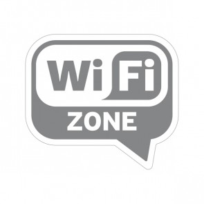 Sign Wifi Free Zone Mirror Silver On White Vinyl 12016
