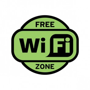 Sign Wifi Free Zone Green Black Print On Vinyl 12020