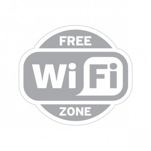 Sign Wifi Free Zone Gray Print On White Vinyl 12023
