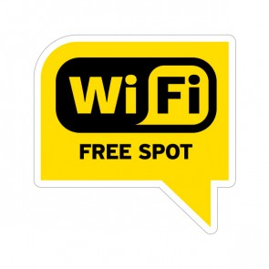 Sign Wifi Free Spot Yellow Black Print On Vinyl 12028