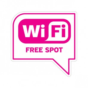 Sign Wifi Free Spot Pink-Magenta On White Vinyl 12035