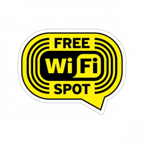Sign Wifi Free Spot Yellow Black Print On Vinyl 12037