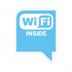 Sign Wifi Inside Cyan Blue Print On Vinyl 12048