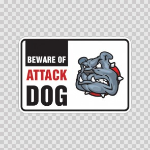 Beware Of Attack Dog Bulldog Sign 12112