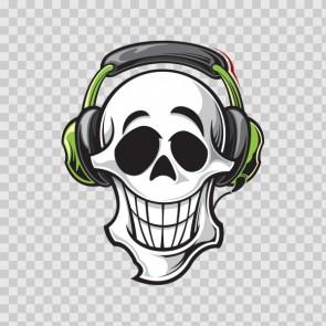 Skull Dj Wih Headphones 13376