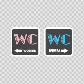 Wc Restroom Toilette Men Women Sign 14928