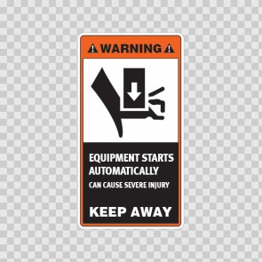 Warning Equipment Starts Automatically - Can Cause Severe Injury. Keep Away 18575