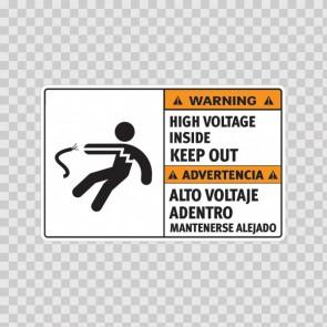 Warning High Voltage Inside. Keep Out. / Advertencia Alto Voltaje Adentro. Mantenerse Alejado. 18971