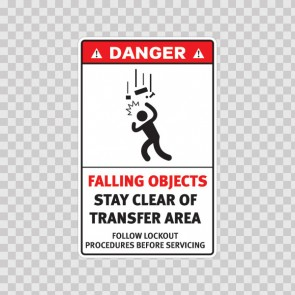 Danger Falling Objects Stay Clear Of Transfer Area. Follow Lockout Procedures Before Servicing 19173