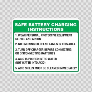 Safe Battery Charging Instructions: 1. Wear Personal Protective Equipment.. 19743