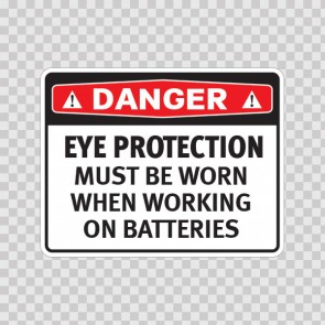 Danger Eye Protection Must Be Worn When Working On Batteries  19747
