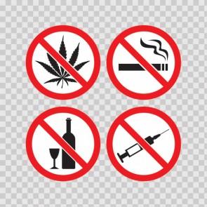 Set Of 4 Signs No Drugs No Smoking No Drinking No Marijuana. 21607